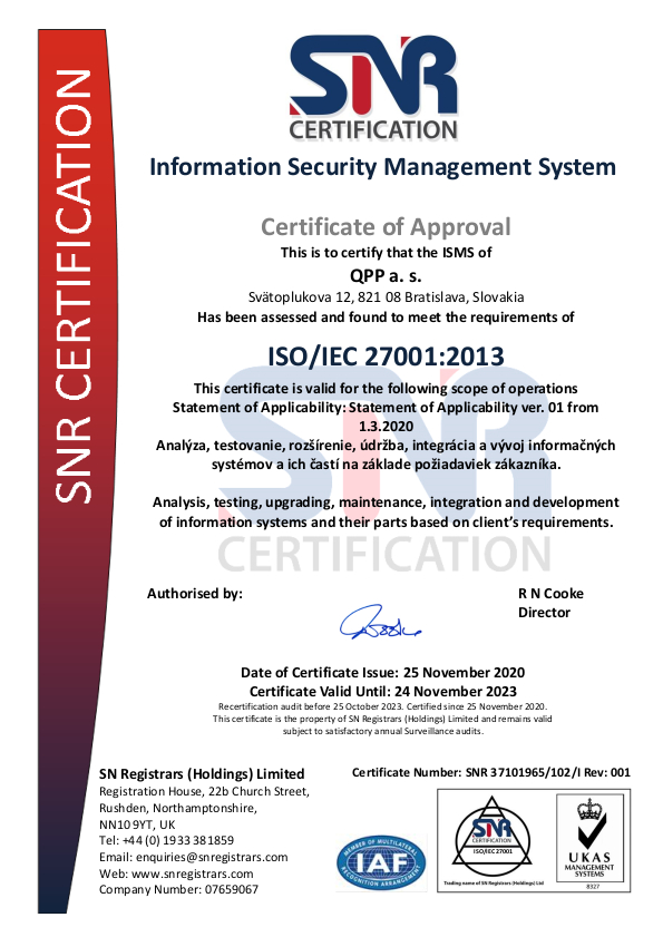 Certifikat ISO 27001 202011