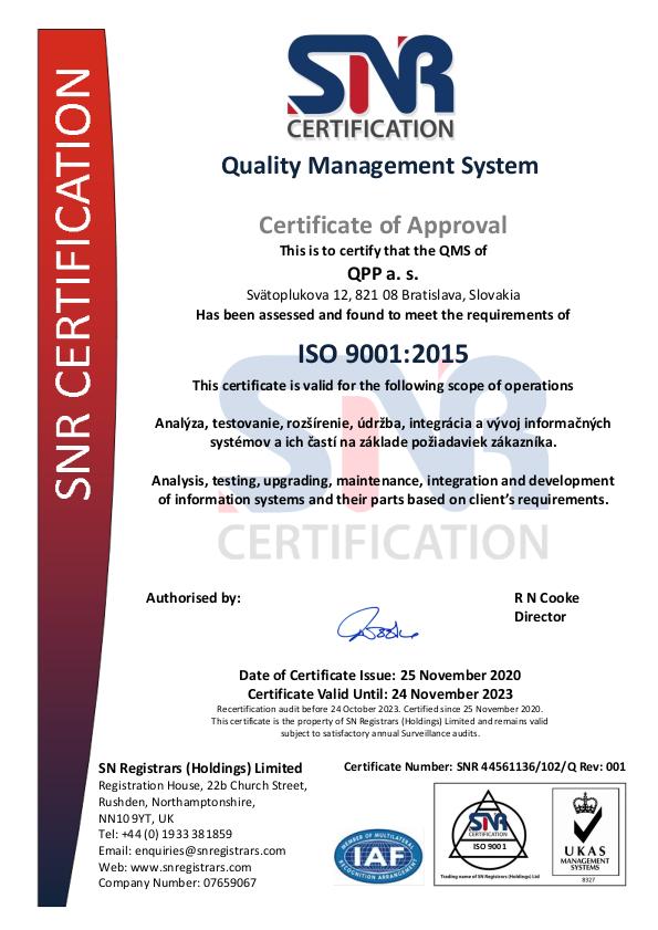 Certifikat ISO 9001 202011